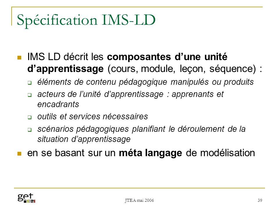 Spécification IMS-LD IMS LD décrit les composantes d'une unité d'apprentissage (cours, module, leçon, séquence) :