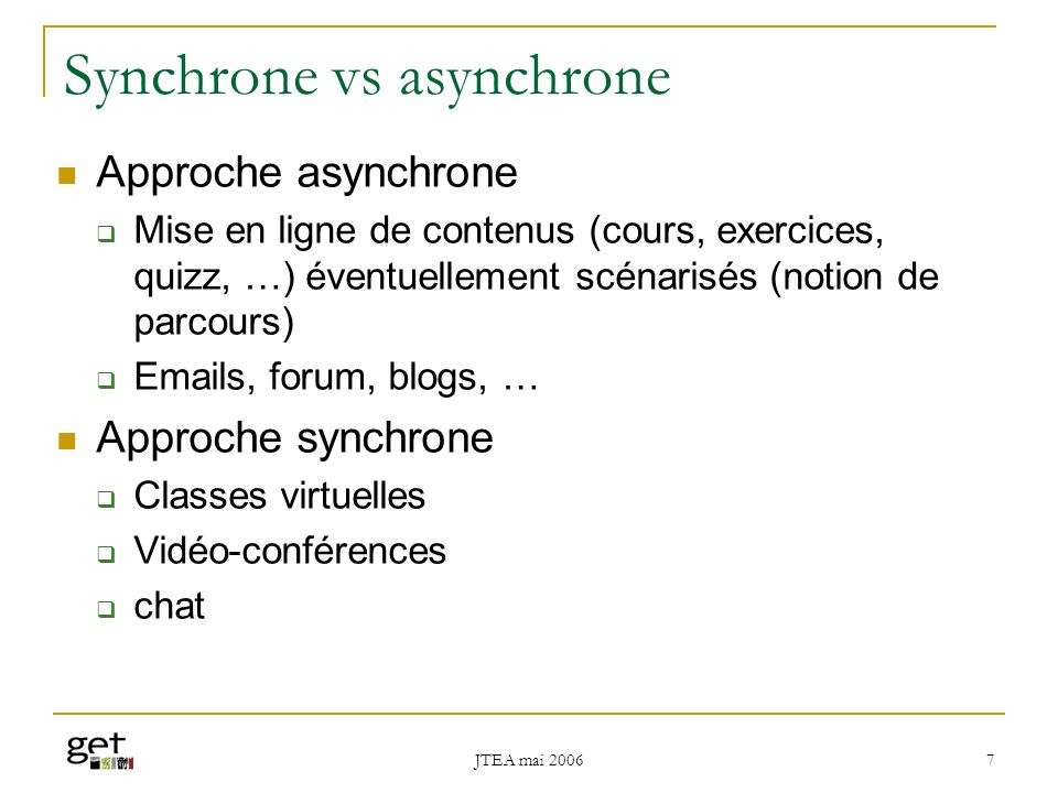 Synchrone vs asynchrone