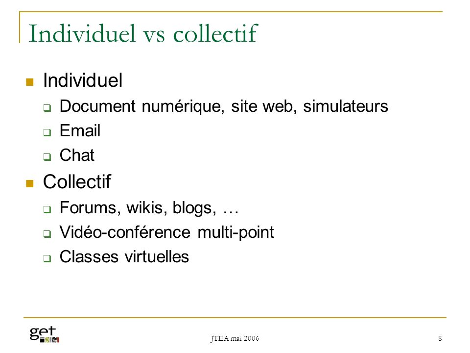 Individuel vs collectif