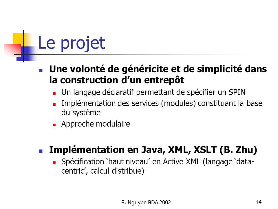 Le projet Une volonté de généricite et de simplicité dans la construction d'un entrepôt. Un langage déclaratif permettant de spécifier un SPIN.