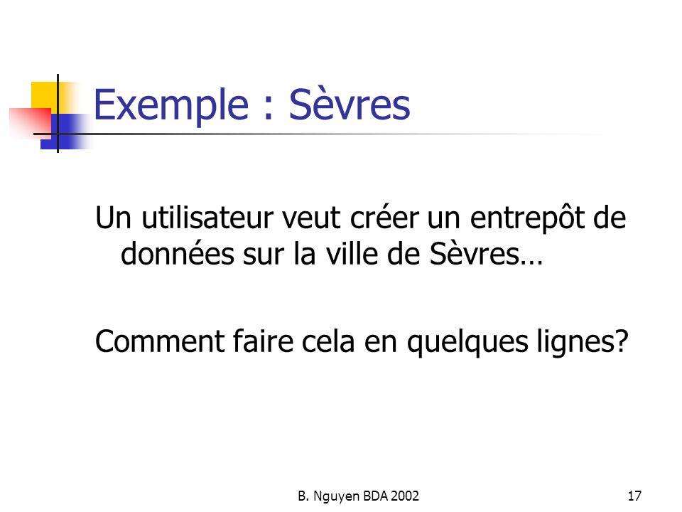 Exemple : Sèvres Un utilisateur veut créer un entrepôt de données sur la ville de Sèvres… Comment faire cela en quelques lignes