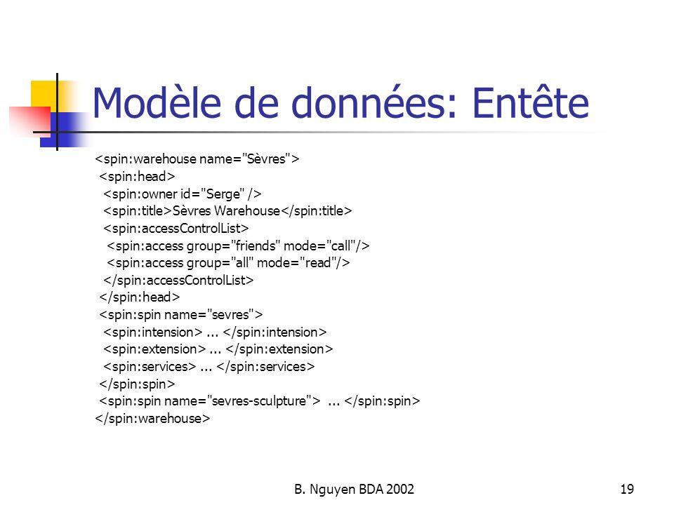 Modèle de données: Entête