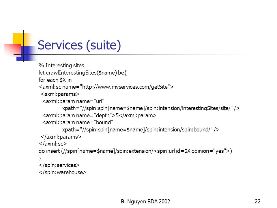 Services (suite) % Interesting sites