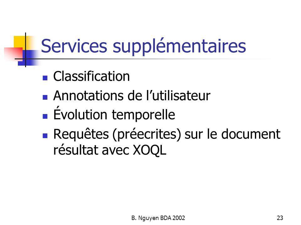 Services supplémentaires
