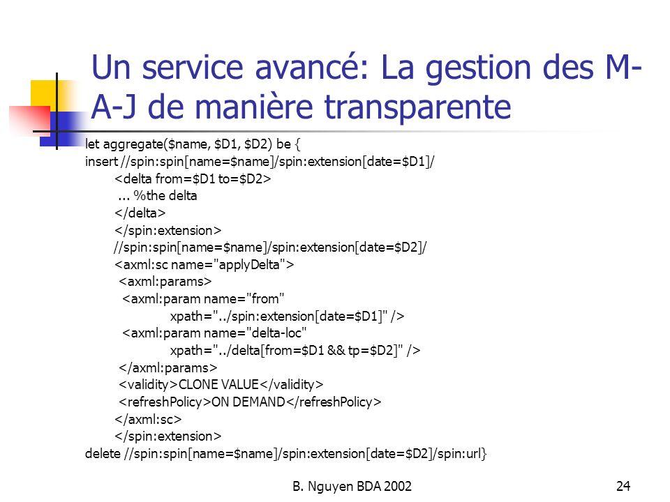 Un service avancé: La gestion des M-A-J de manière transparente
