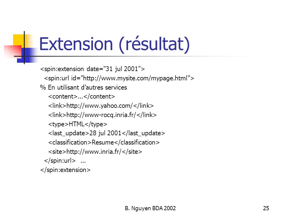 Extension (résultat) <spin:extension date= 31 jul 2001 >