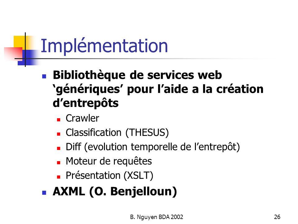 Implémentation Bibliothèque de services web 'génériques' pour l'aide a la création d'entrepôts. Crawler.