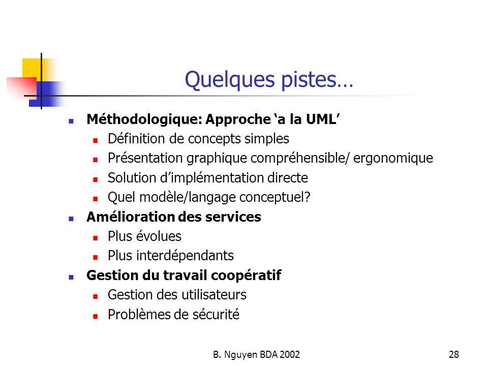 Quelques pistes… Méthodologique: Approche 'a la UML'