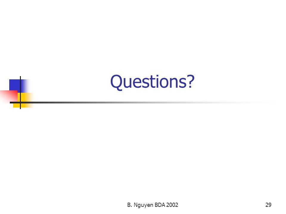Questions B. Nguyen BDA 2002