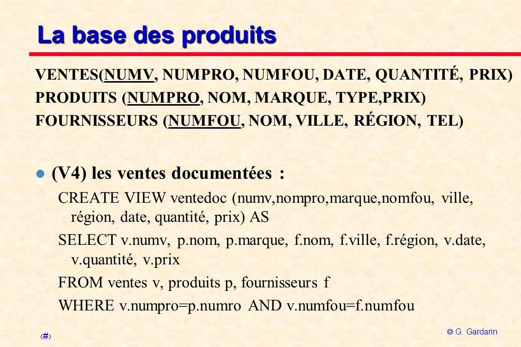 La base des produits (V4) les ventes documentées :
