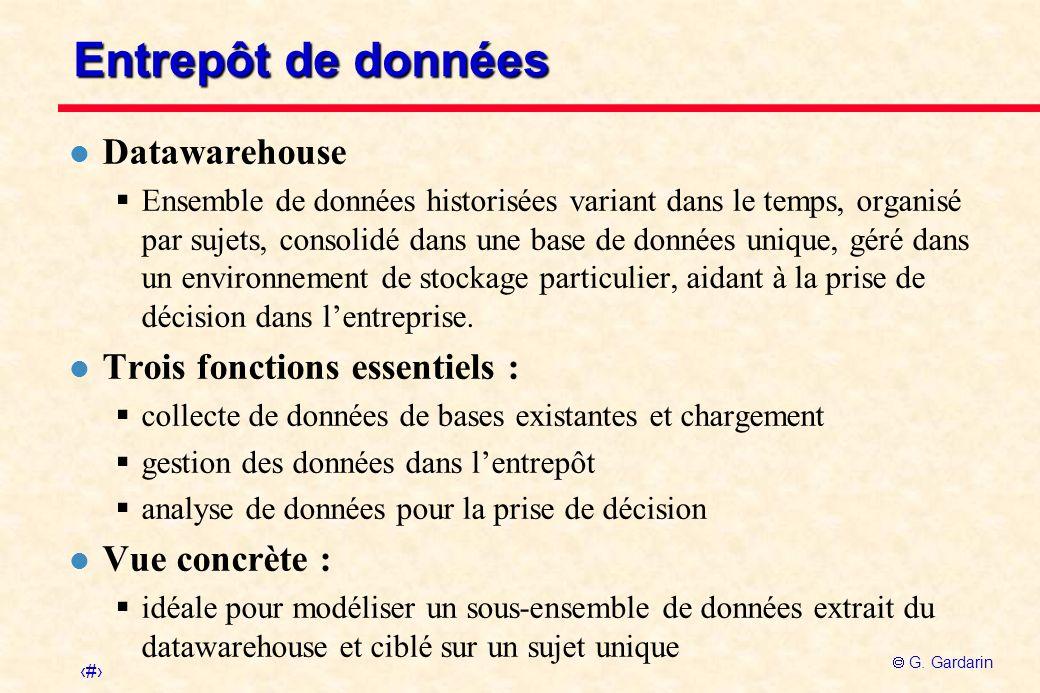 Entrepôt de données Datawarehouse Trois fonctions essentiels :
