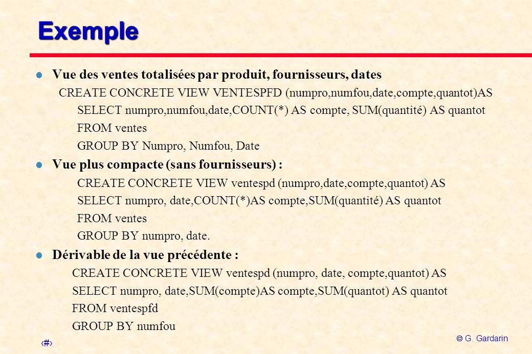Exemple Vue des ventes totalisées par produit, fournisseurs, dates