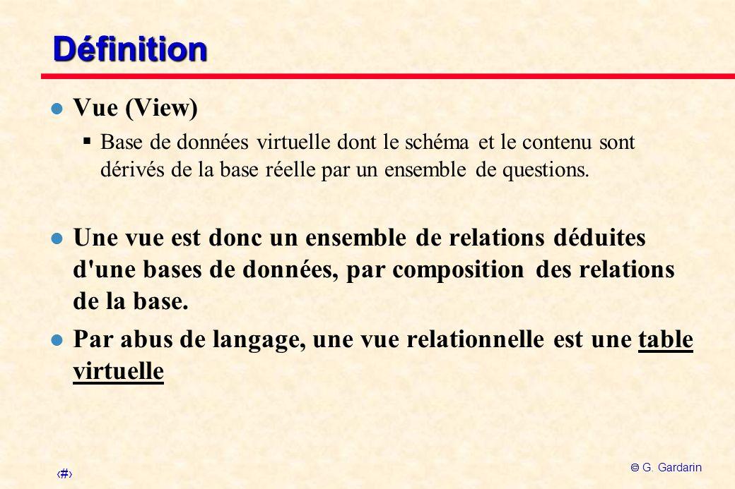 Définition Vue (View) Base de données virtuelle dont le schéma et le contenu sont dérivés de la base réelle par un ensemble de questions.