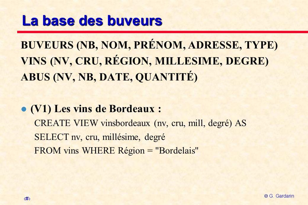 La base des buveurs BUVEURS (NB, NOM, PRÉNOM, ADRESSE, TYPE)