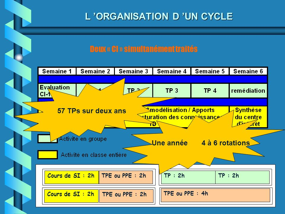 L 'ORGANISATION D 'UN CYCLE