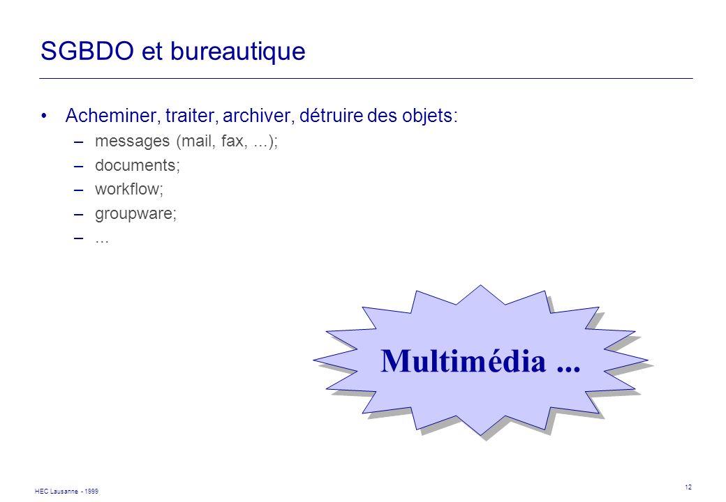 Multimédia ... SGBDO et bureautique