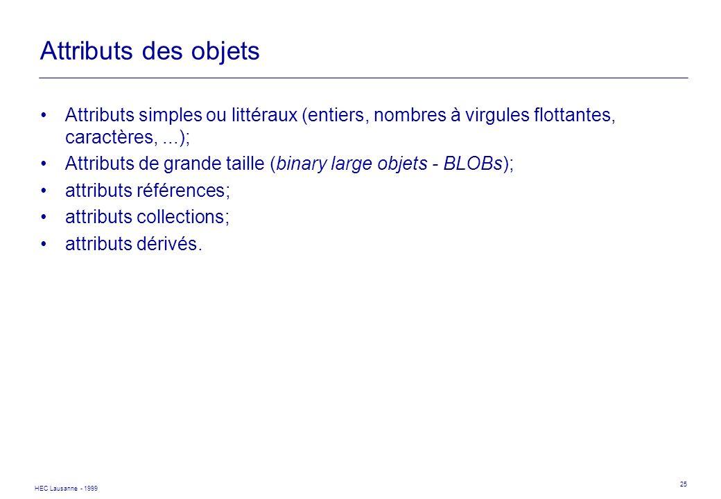 Attributs des objets Attributs simples ou littéraux (entiers, nombres à virgules flottantes, caractères, ...);