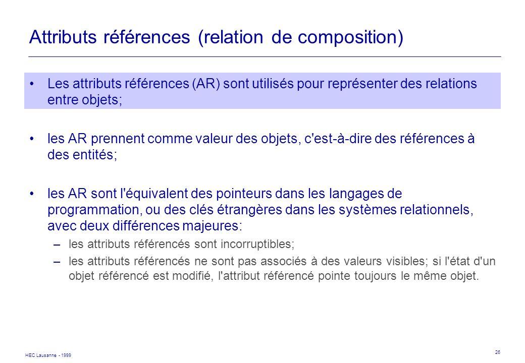Attributs références (relation de composition)