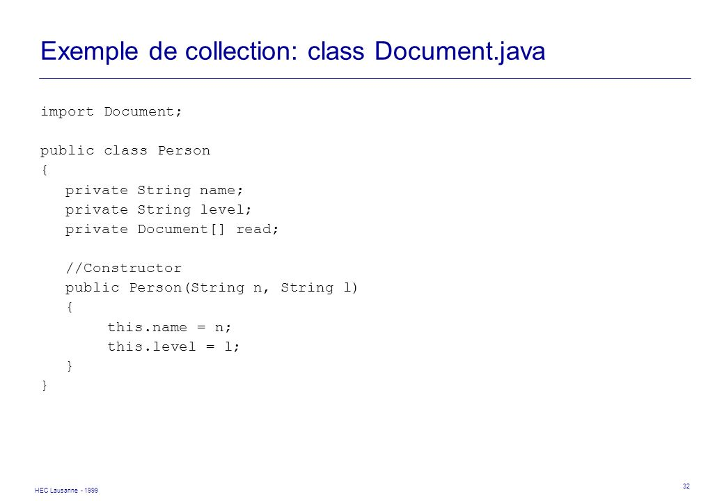 Exemple de collection: class Document.java