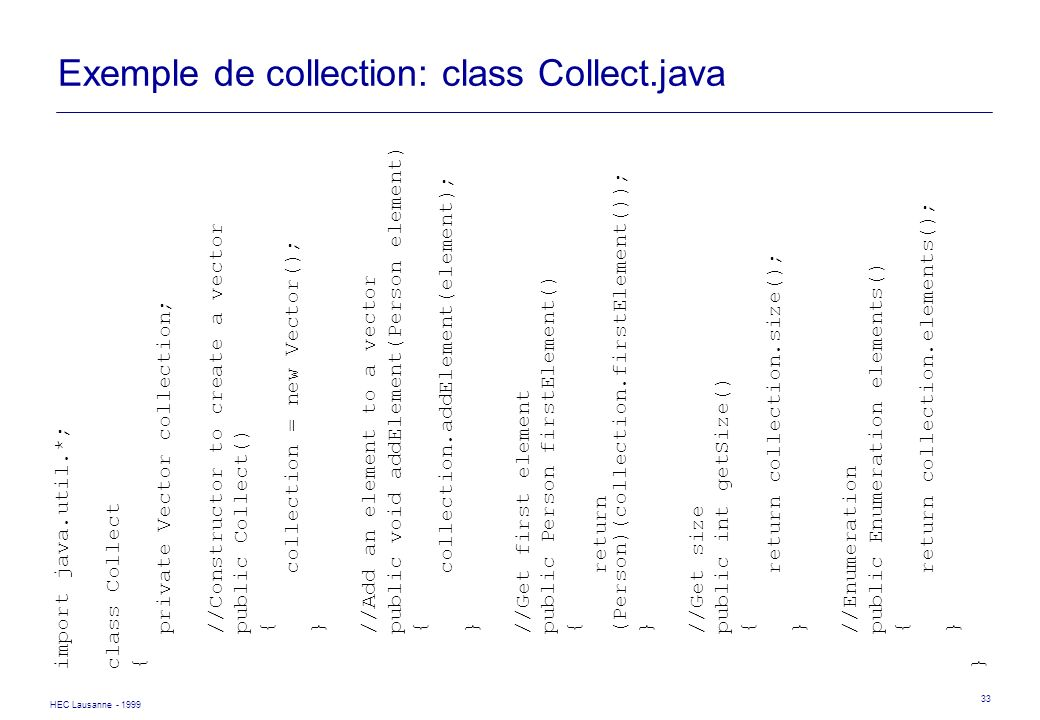 Exemple de collection: class Collect.java