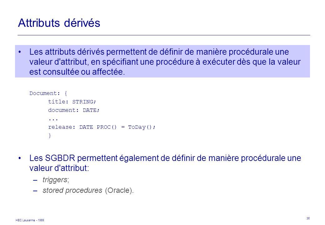 Attributs dérivés