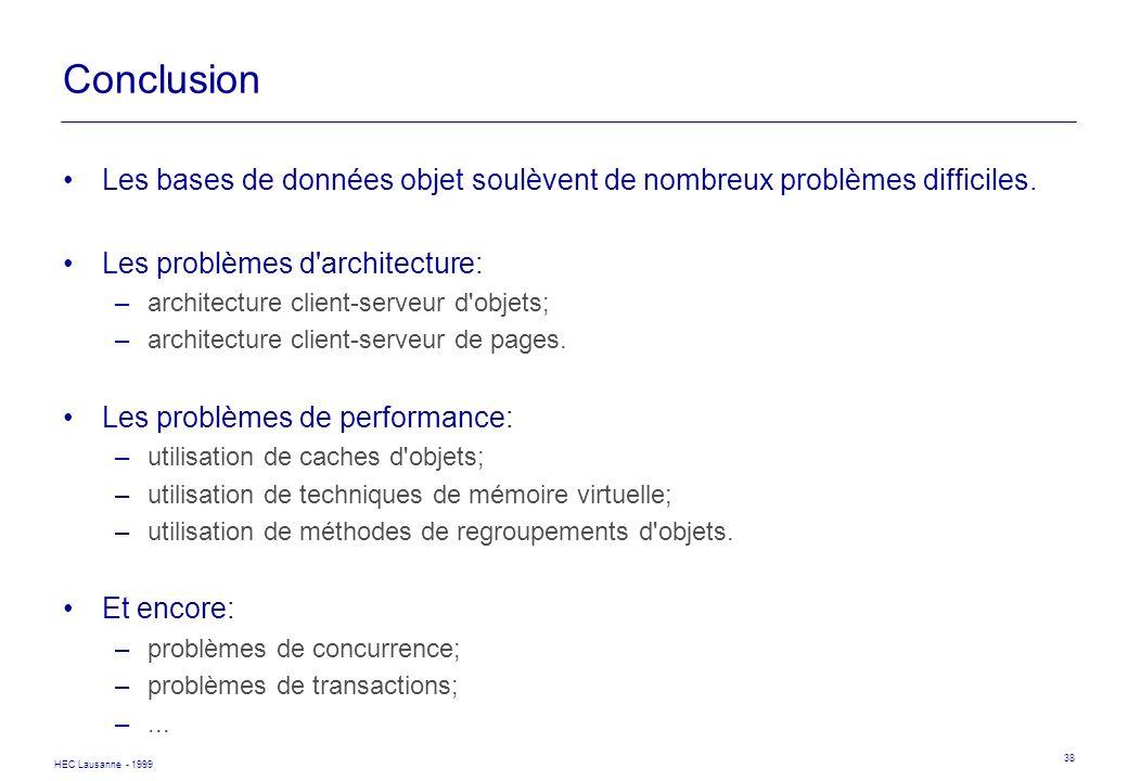 Conclusion Les bases de données objet soulèvent de nombreux problèmes difficiles. Les problèmes d architecture: