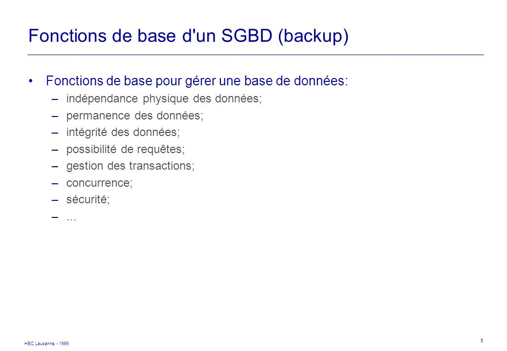 Fonctions de base d un SGBD (backup)