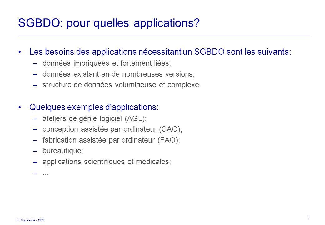 SGBDO: pour quelles applications