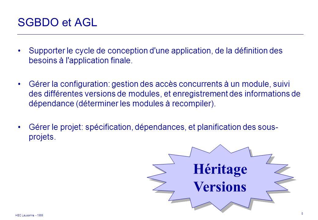 Héritage Versions SGBDO et AGL