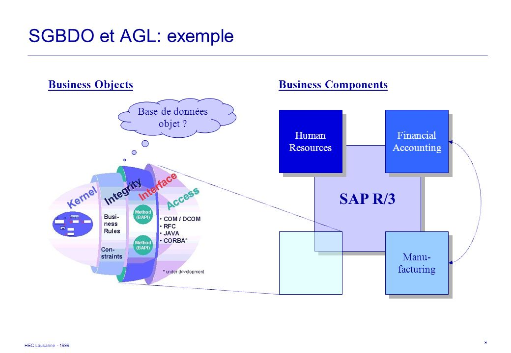 SGBDO et AGL: exemple SAP R/3 Business Objects Business Components