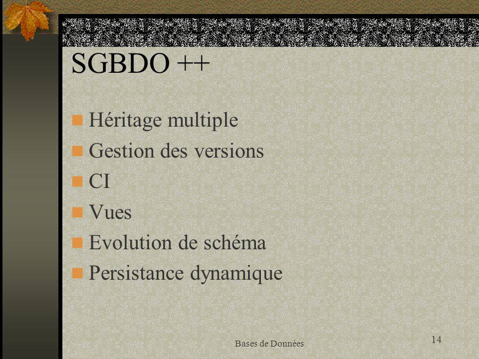SGBDO ++ Héritage multiple Gestion des versions CI Vues