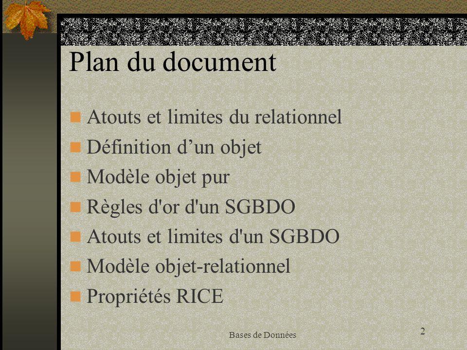 Plan du document Atouts et limites du relationnel