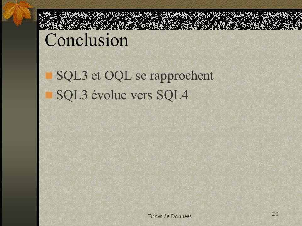 Conclusion SQL3 et OQL se rapprochent SQL3 évolue vers SQL4