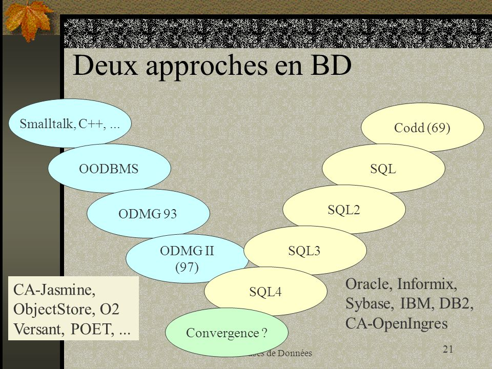 Deux approches en BD Oracle, Informix, CA-Jasmine, Sybase, IBM, DB2,