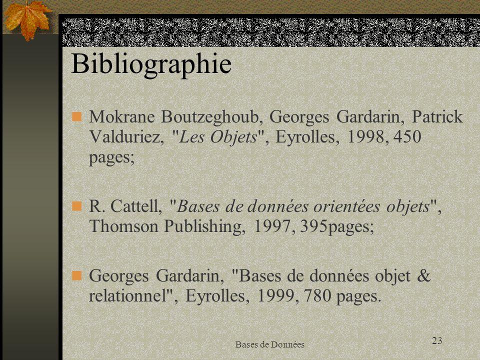 Bibliographie Mokrane Boutzeghoub, Georges Gardarin, Patrick Valduriez, Les Objets , Eyrolles, 1998, 450 pages;
