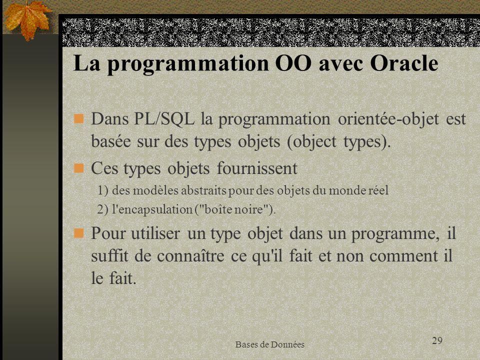 La programmation OO avec Oracle