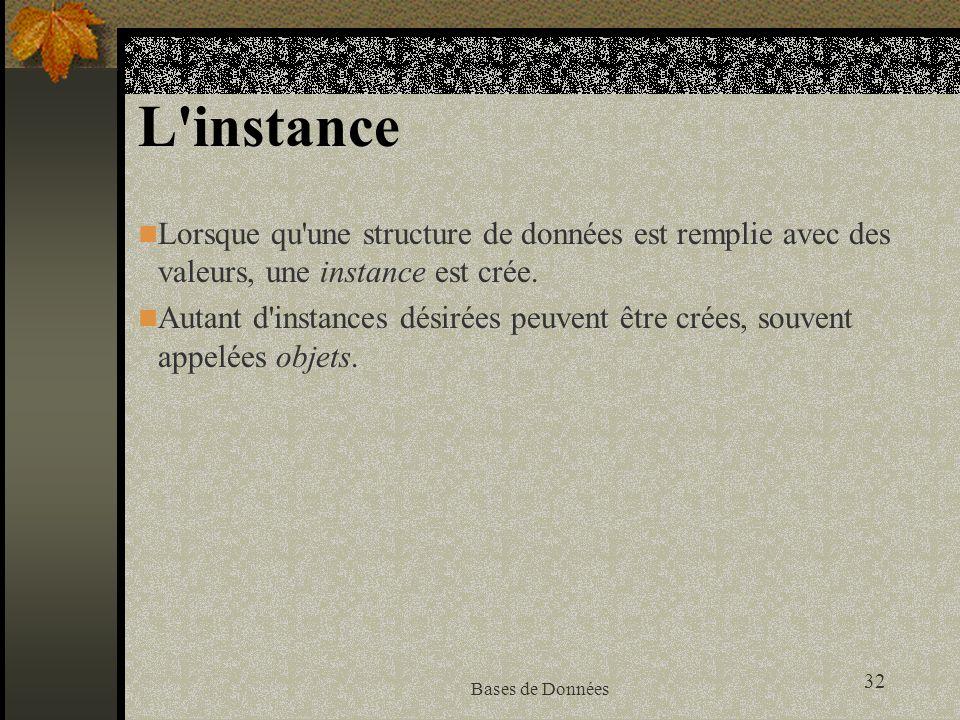 L instance Lorsque qu une structure de données est remplie avec des valeurs, une instance est crée.