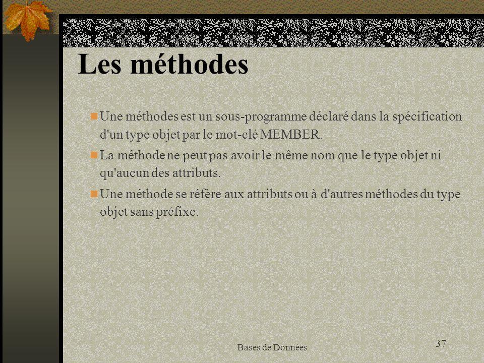 Les méthodes Une méthodes est un sous-programme déclaré dans la spécification d un type objet par le mot-clé MEMBER.