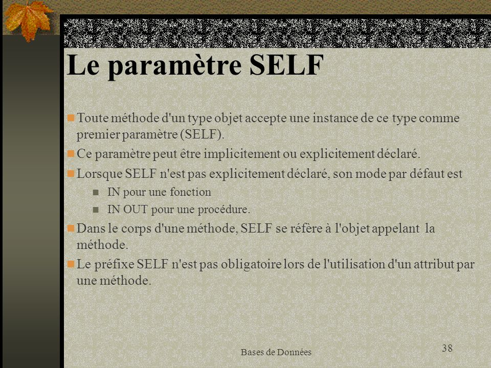 Le paramètre SELFToute méthode d un type objet accepte une instance de ce type comme premier paramètre (SELF).