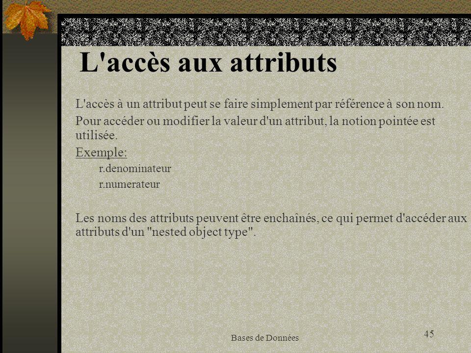 L accès aux attributs L accès à un attribut peut se faire simplement par référence à son nom.