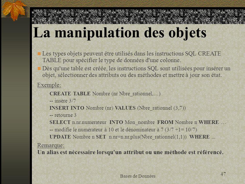La manipulation des objets