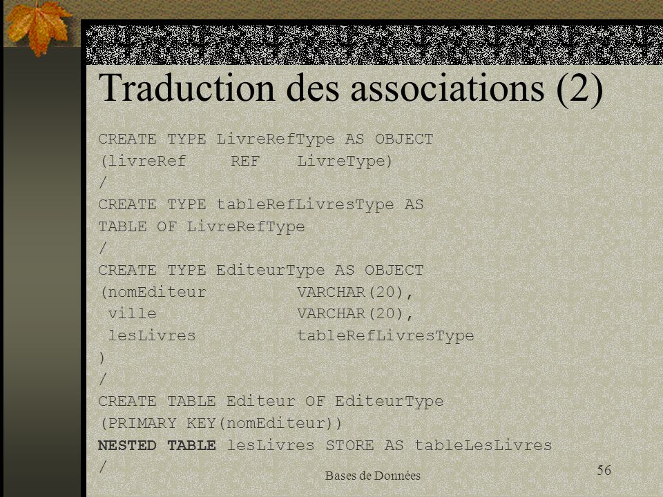 Traduction des associations (2)