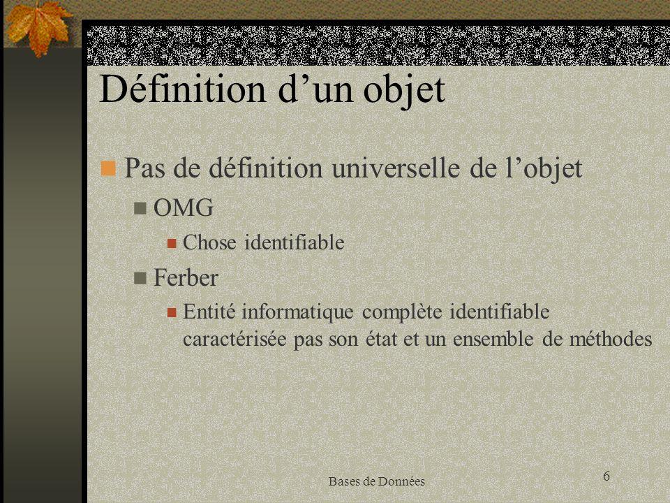 Définition d'un objet Pas de définition universelle de l'objet OMG