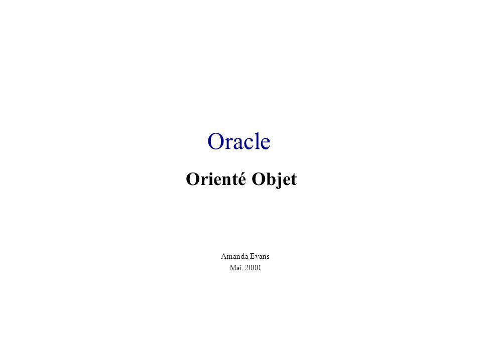 Oracle Orienté Objet Amanda Evans Mai 2000
