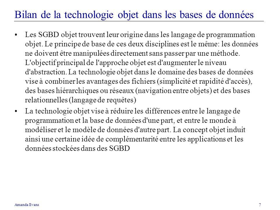 Bilan de la technologie objet dans les bases de données