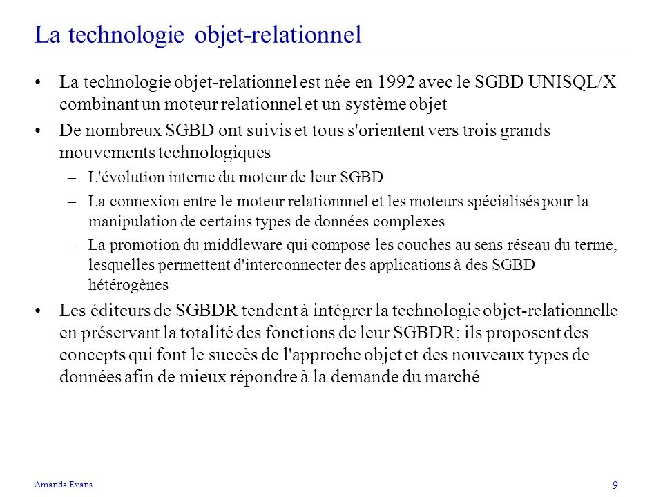La technologie objet-relationnel