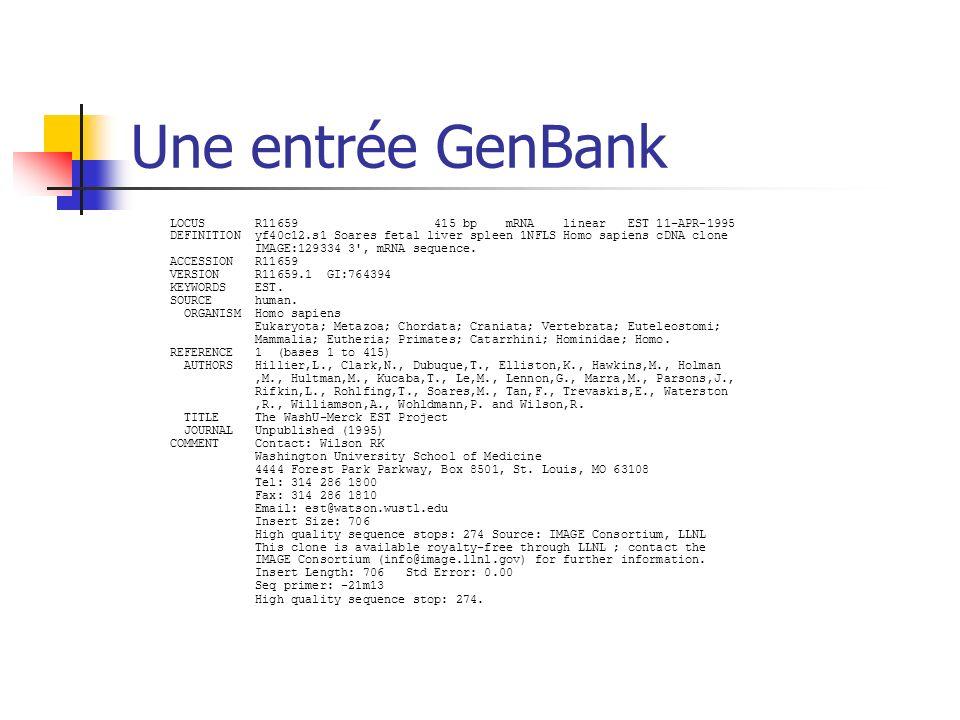 Une entrée GenBank