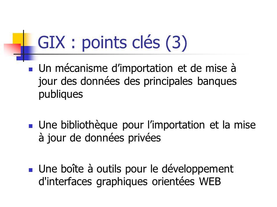 GIX : points clés (3) Un mécanisme d'importation et de mise à jour des données des principales banques publiques.