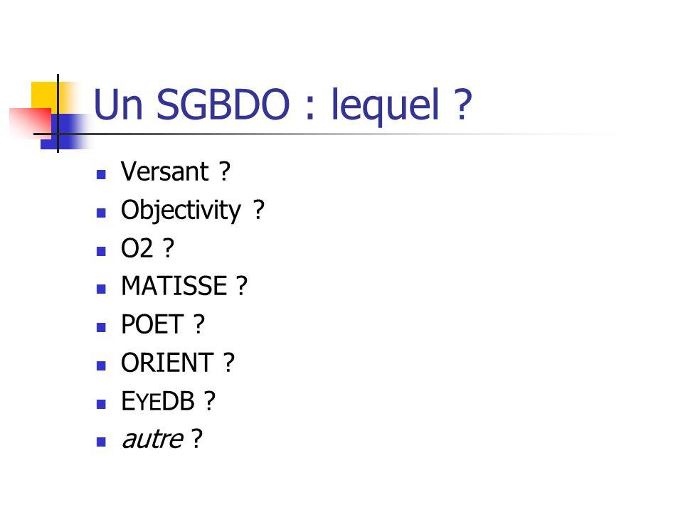 Un SGBDO : lequel Versant Objectivity O2 MATISSE POET