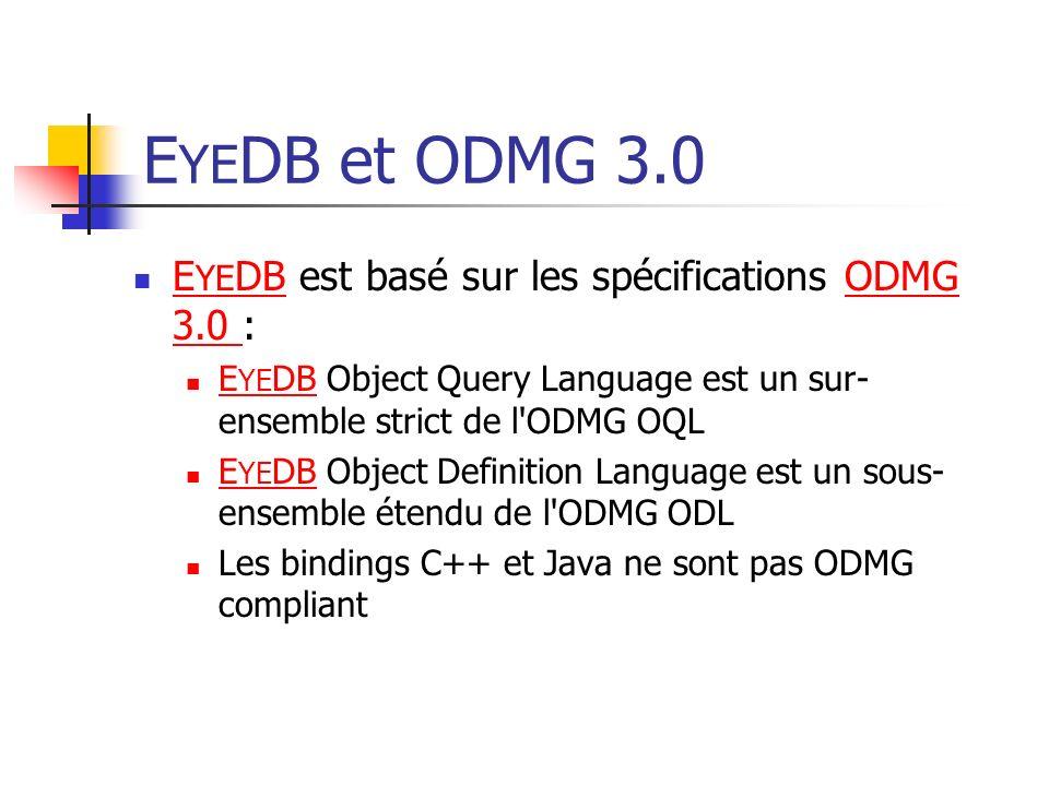 EYEDB et ODMG 3.0 EYEDB est basé sur les spécifications ODMG 3.0 :